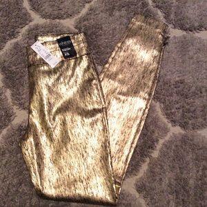 NWT Shiny Metallic Gold High Waist Ankle
